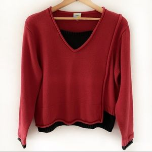 CUBIX Color Block V-neck Burgundy/Black Sweater L